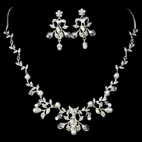 Silver Clear Bridal Wedding Jewelry 7208 & Bridal Wedding Tiara 7102 Set