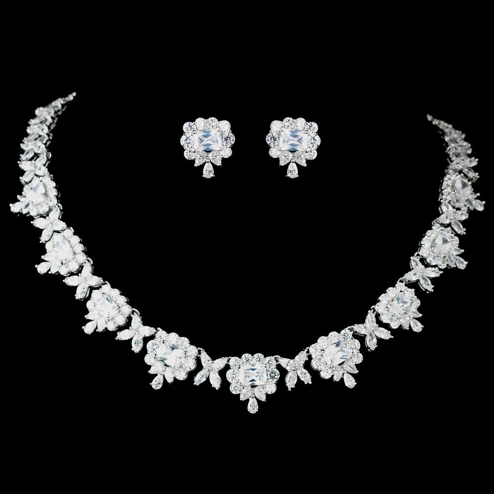 Antique Rhodium Silver Clear CZ Crystal Princess Cut, Teardrop Bridal Wedding Jewelry Set 7745