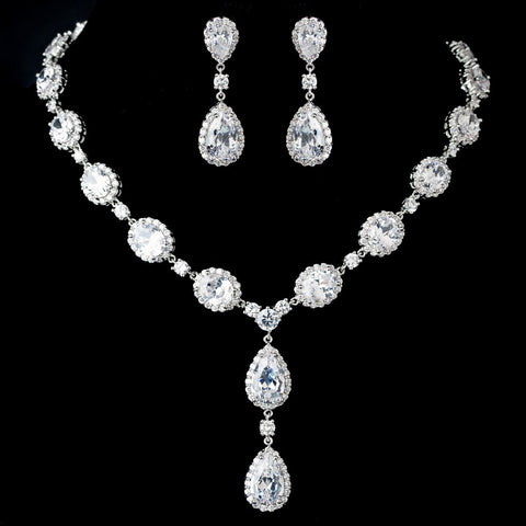Antique Rhodium Silver Clear Teardrop & Oval CZ Crystal Bridal Wedding Jewelry Set 7749