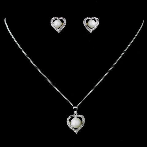 Antique Rhodium Silver White Pearl & CZ Crystal Heart Bridal Wedding Jewelry Set 7750
