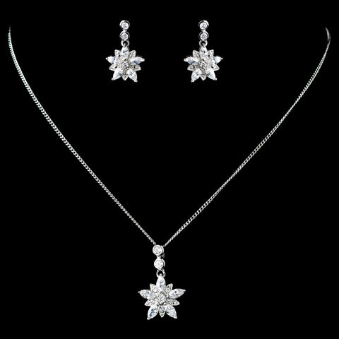 Antique Rhodium Silver Clear CZ Crystal Flower Snowflake Bridal Wedding Jewelry Set 7751