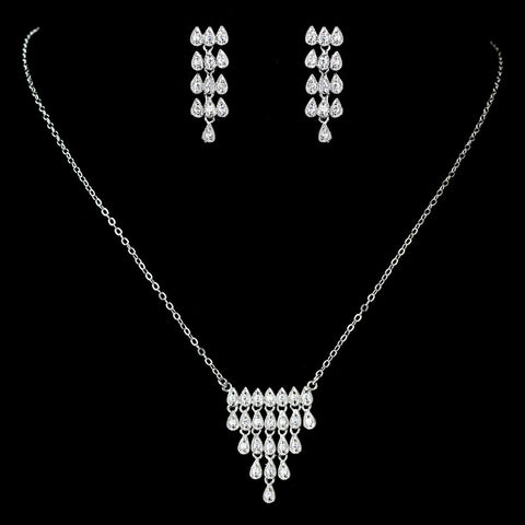 Antique Rhodium Silver Clear CZ Crystal Simple Pave Bridal Wedding Jewelry Set 7752