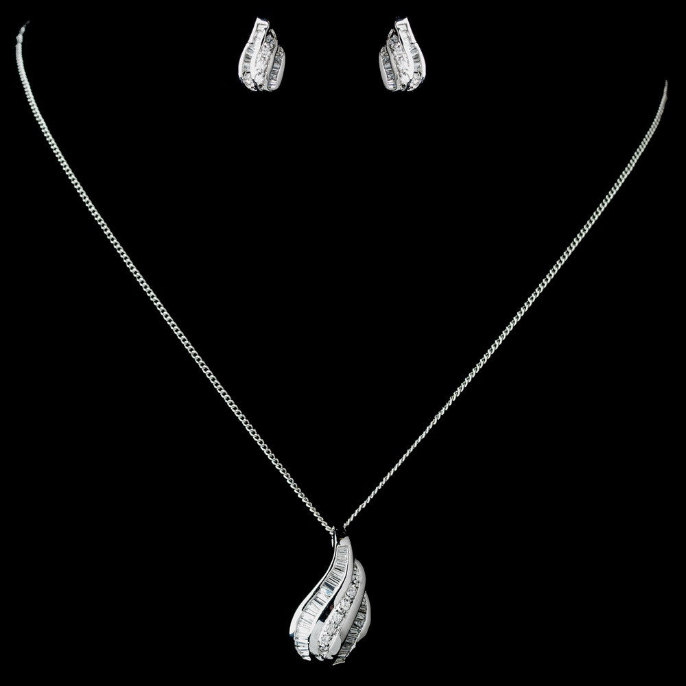 Antique Rhodium Silver Clear CZ Crystal Baguette Pendent Bridal Wedding Jewelry Set 7753