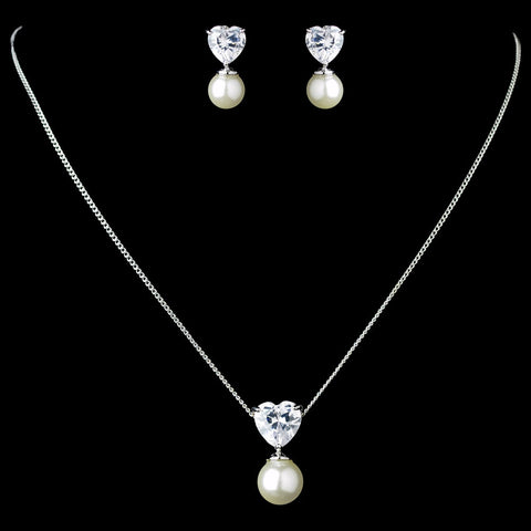 Antique Rhodium Silver White Pearl & Heart CZ Crystal Drop Bridal Wedding Jewelry Set 7754