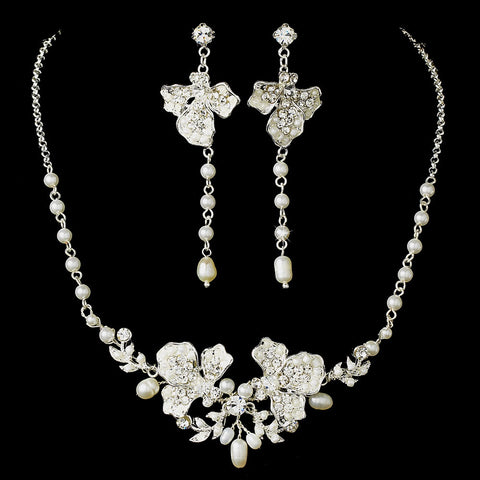 Freshwater Pearl & Crystal Silver Bridal Wedding Jewelry Set & Headband Set 7803