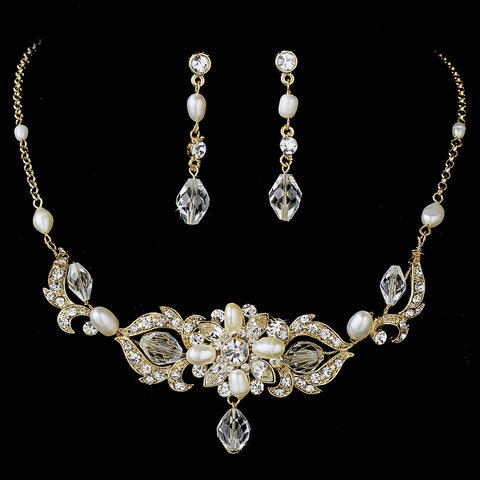 Swarovski Freshwater Pearl Bridal Wedding Jewelry Set NE 7804
