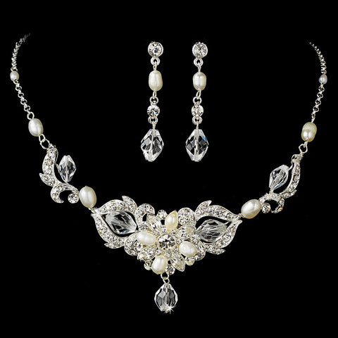 Silver Crystal & Pearl Bridal Wedding Jewelry Set NE 7804