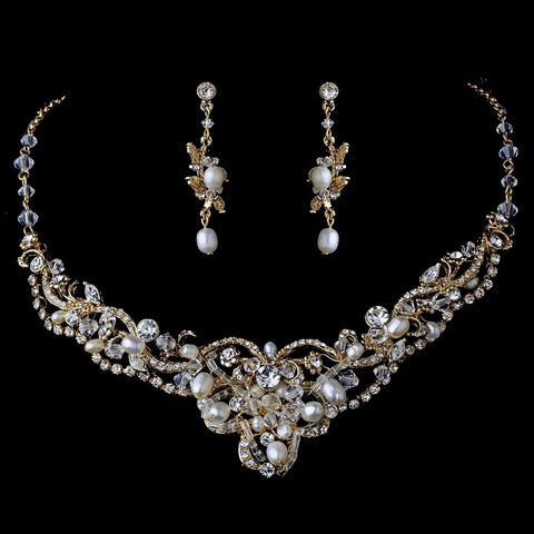 Gold Freshwater Pearl Jewelry 7825 & Bridal Wedding Headband 5508 Set