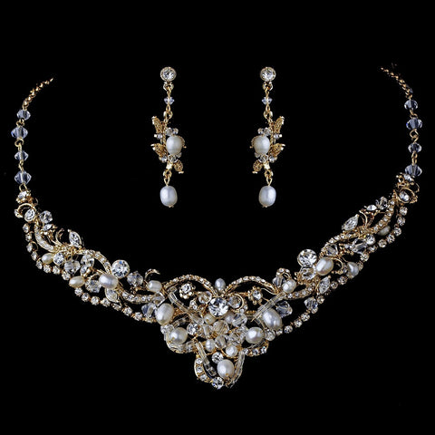 Gold Freshwater Pearl Jewelry & Bridal Wedding Tiara Set 7825