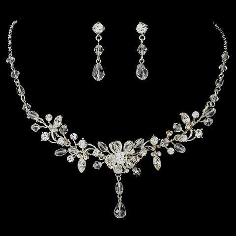 Clear Swarovski Crystal Couture Bridal Wedding Jewelry Set & Bridal Wedding Tiara Set 8003