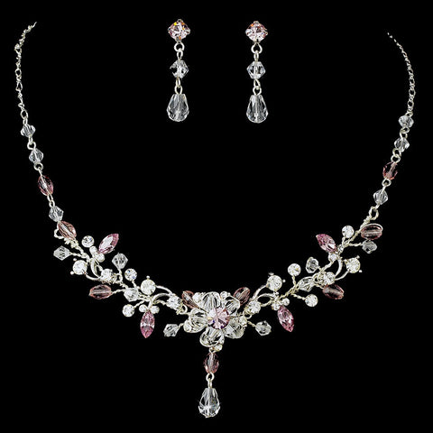Light Amethyst Swarovski Crystal Couture Bridal Wedding Jewelry Set & Bridal Wedding Tiara Set 8003