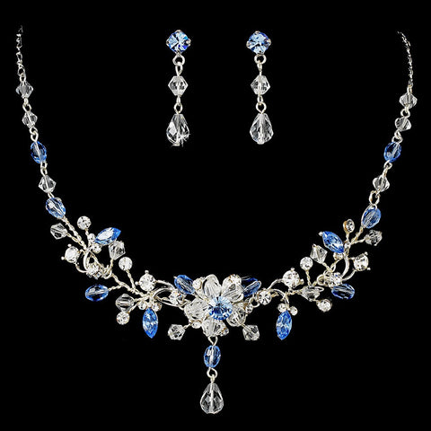 Light Blue Swarovski Crystal Couture Bridal Wedding Jewelry Set & Bridal Wedding Tiara Set 8003