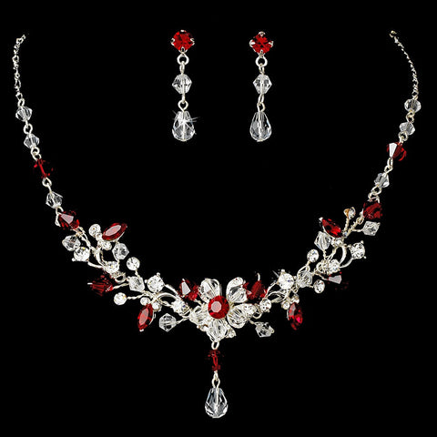 Red Swarovski Crystal Couture Bridal Wedding Jewelry Set & Bridal Wedding Tiara Set 8003