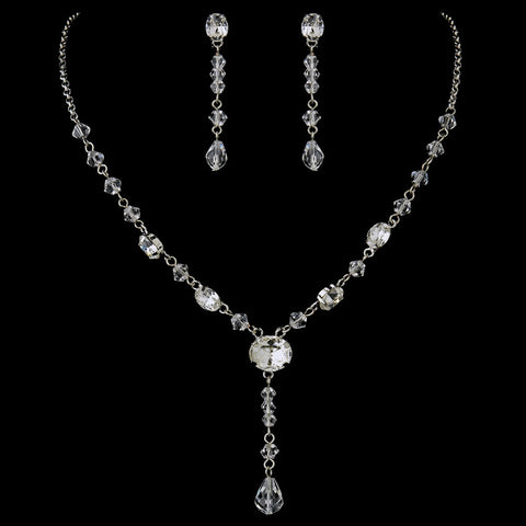 Antique Rhodium Silver Clear Austrian Crystal Bridal Wedding Jewelry Set 8008