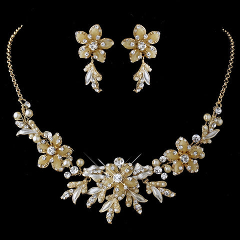 Gold Ivory Pearl Flower Jewelry & Bridal Wedding Tiara Set 8100