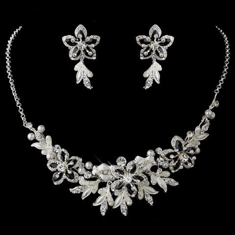 Silver Black Pearl Flower Jewelry & Bridal Wedding Tiara Set 8100