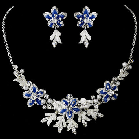 Stunning Sapphire Blue Bridal Wedding Jewelry Set NE 8100
