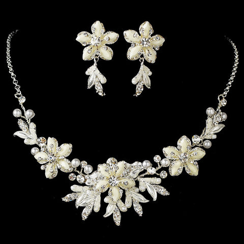 Stunning Silver White Snowflake Bridal Wedding Jewelry Set NE 8100