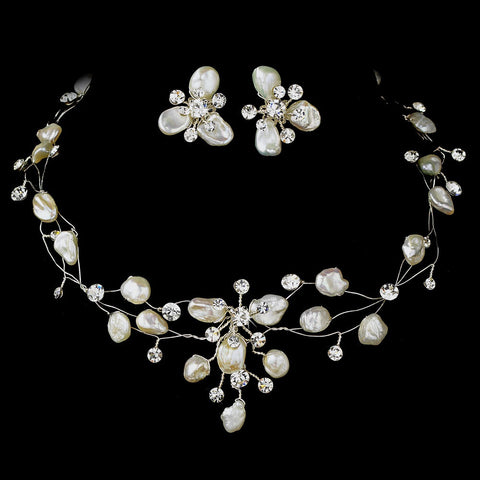 Freshwater Keshi Pearl & Crystal Bridal Wedding Necklace Earring Jewelry & Bridal Wedding Tiara Set 8134