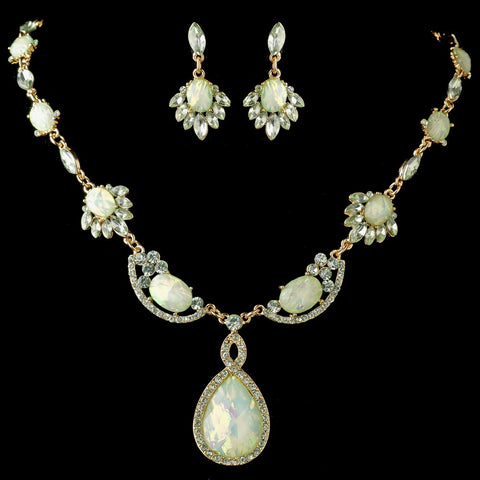 Gold Mint Green Opalescent Moonglass Bridal Wedding Jewelry Set 8158