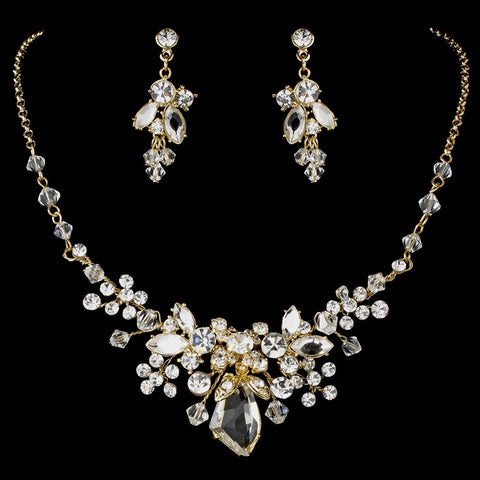 Gold Swarovski Crystal Bridal Wedding Jewelry Set & Tiara Set 8237
