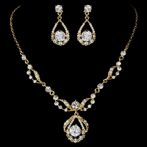 Gold Swarovski Bridal Wedding Jewelry Set & Headband Set NE 8265 & HP 8271