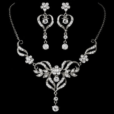 Beautiful Silver Crystal Bridal Wedding Jewelry Set NE 8322