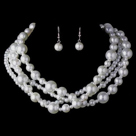 Multi Strand Pearl Bridal Wedding Necklace & Earring Set NE 8346