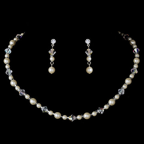 Bridal Wedding Necklace Earring Set NE 8365 Silver Ivory