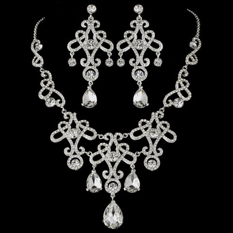Statement Bridal Wedding Necklace Earring Set 8387 Silver Clear