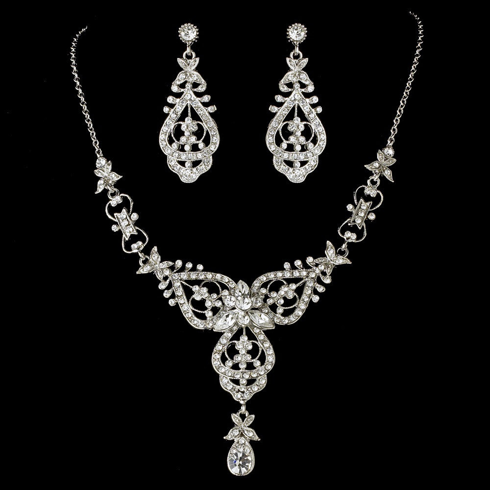 Antique Silver Clear Bridal Wedding Necklace Earring Set 8393