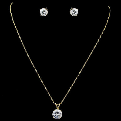 Gold Clear Round CZ Pendant Bridal Wedding Jewelry Set 8598