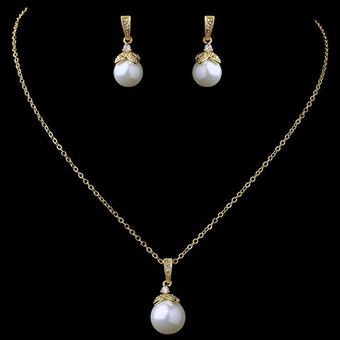 Gold White Pearl & CZ Pendant Bridal Wedding Jewelry Set 8602