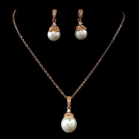 Rose Gold White Pearl & CZ Pendant Bridal Wedding Jewelry Set 8602