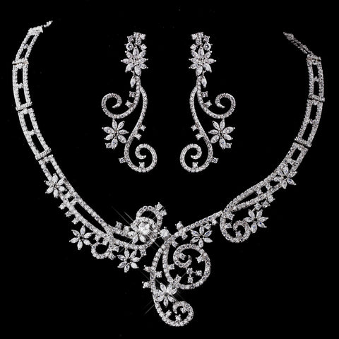 Silver Clear CZ Bridal Wedding Necklace & Earring Set 8620