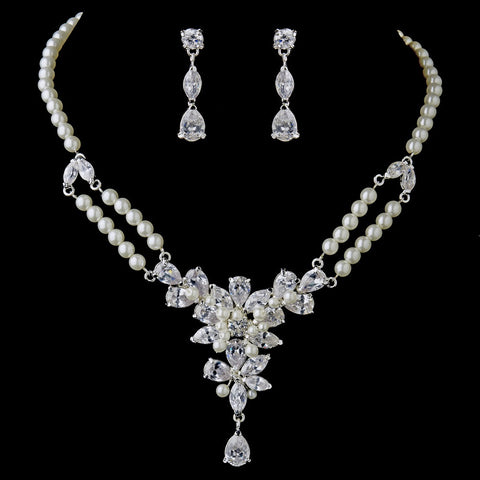 Silver Ivory Pearl & Floral CZ Bridal Wedding Jewelry Set 8701