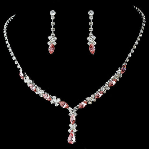 Bridal Wedding Necklace Earring Set 9235 Silver Pink