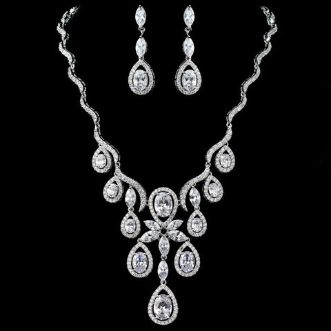 Rhodium Clear CZ Oval Teardrop Swirl Bridal Wedding Jewelry Set 9592