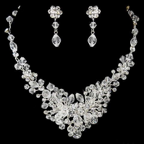 Silver Clear Rhinestone & Crystal Bridal Wedding Jewelry Set 9707