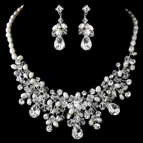 Gorgeous Silver Clear Crystal & Ivory Freshwater Pearl Statement Bridal Wedding Necklace & Earring Set 9783