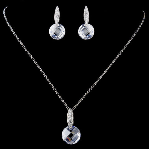 Antique Rhodium Silver Crystal & CZ Crystal Pendent Bridal Wedding Necklace & Earrings Set 9969