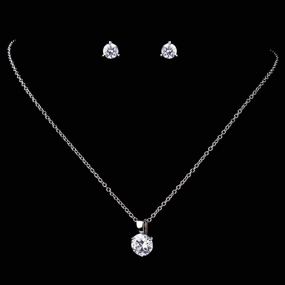Antique Rhodium Silver Round CZ Crystal Pendent Bridal Wedding Necklace & Earrings Set 9970