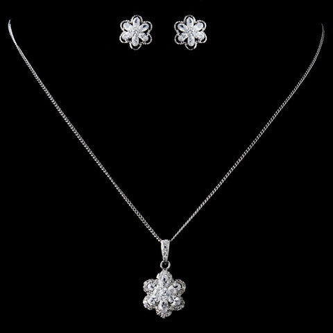 Antique Rhodium Silver CZ Crystal Flower Bridal Wedding Jewelry Set 9972