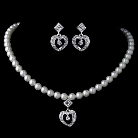 Silver Ivory Pearl & Rhinestone Heart Child's Bridal Wedding Jewelry Set 466