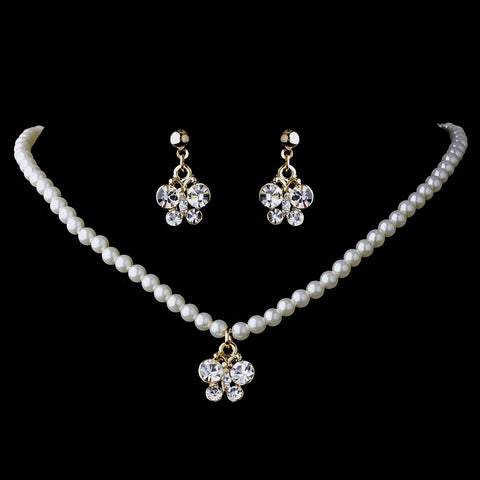 Bridal Wedding Necklace Earring Children Bridal Wedding Jewelry Set 7949 Gold Clear