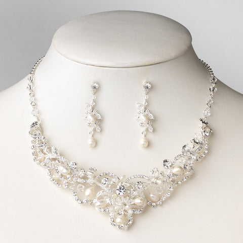 Silver Freshwater Pearl & Crystal Bridal Wedding Jewelry Set NE 7825