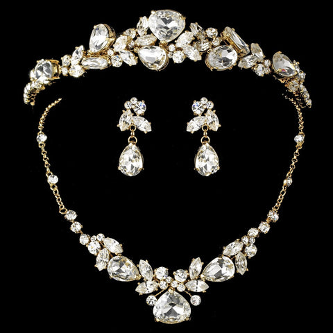 Gold Elegant Bridal Wedding Jewelry Set & Bridal Wedding Tiara 8314