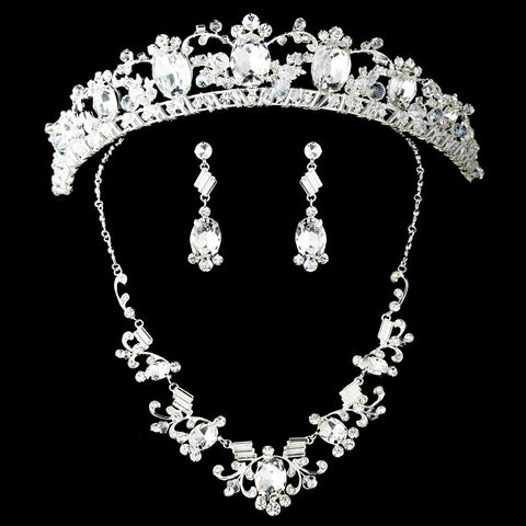 Rhinestone Bridal Wedding Necklace Earring Bridal Wedding Tiara Set 8411