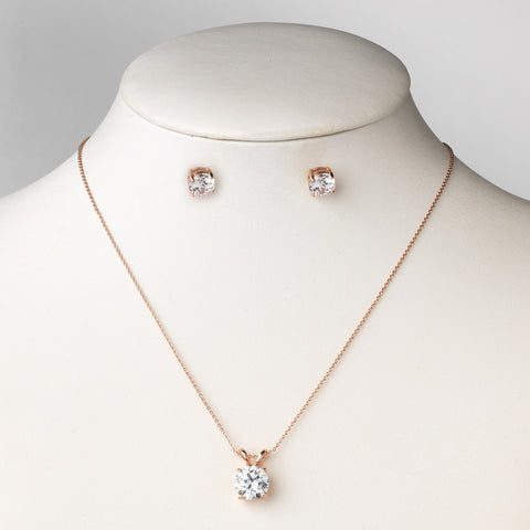 Rose Gold Clear Round CZ Pendant Bridal Wedding Jewelry Set 8598