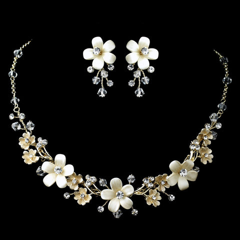 Gold Ivory Flower Bridal Wedding Jewelry Set with Rhinestones Swarovski Crystal Beads